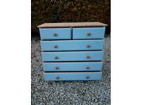 Solid pine wide chest of drawers
