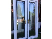 FOUBLE GLAZED FRENCH DOORS EITH FRAME AND KEYS