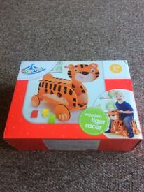 NEVER USED wooden tiger baby walker (still in unopened box)