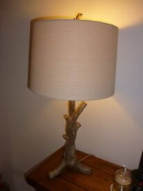 Table Lamp complete with shade, ceramic but looks like wood