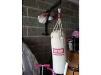 Punch bag, rarely used. Complete with gloves and wall bracket.