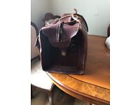 Leather large travel gym bag