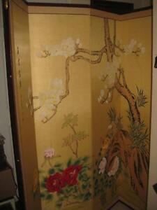 Oriental Furniture Beautiful Hand Painted Oriental Room Divider, 6-Feet Harmony in Nature Folding Privacy Floor Screen