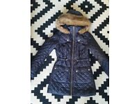 New Look navy blue jacket with fur 8 S