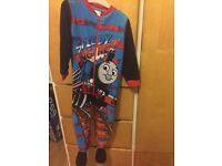 Dinosaur dressing gown and Thomas onsie age 3-4