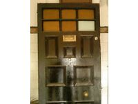 Victorian or Edwardian 7 Panelled Part Glazed Front Door with Key