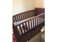 Sleigh cot bed and changing table