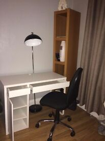 Ikea desk and office chair.