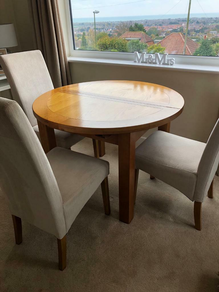 Wooden Extendable Dining Table 3 Chairs For Sale