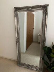 Ornate silver floor length mirror