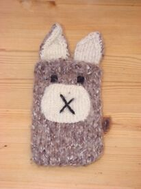 Hand Knitted Rabbit mobile phone case, slot on the back for it to slide in. Brand new