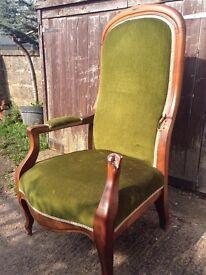 Original French Louis Philippe style armchair - green velvet