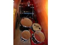 Mapex V-Series drum kit with Remo UX drum heads and Solar cymbals