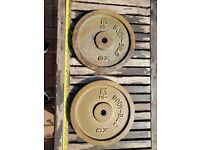 12.5KG weight plates x2 (1 inch holes)