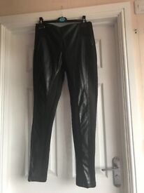 Leather look skinny trousers River Island size 12