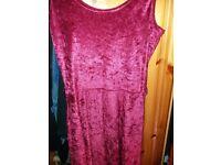 Boohoo red velvet dress size 10
