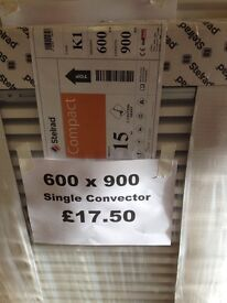 CENTRAL HEATING RADIATOR STELRAD SINGLE CONVECTOR 600 mm high x 900 mm long.