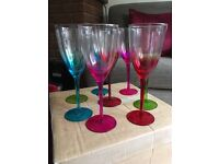 Wine Glasses with Coloured Stems