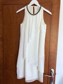Next ladies cream chiffon dress size 8