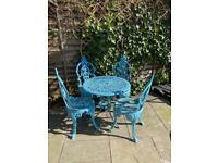 Cast iron blue garden furniture