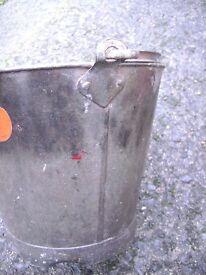 Galvanised metal bucket flower pot fleurs garden planter