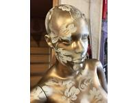 Stunning full size female Mannequin sprayed in gold vintage