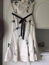 Coast ivory floral strapless size 10 dress