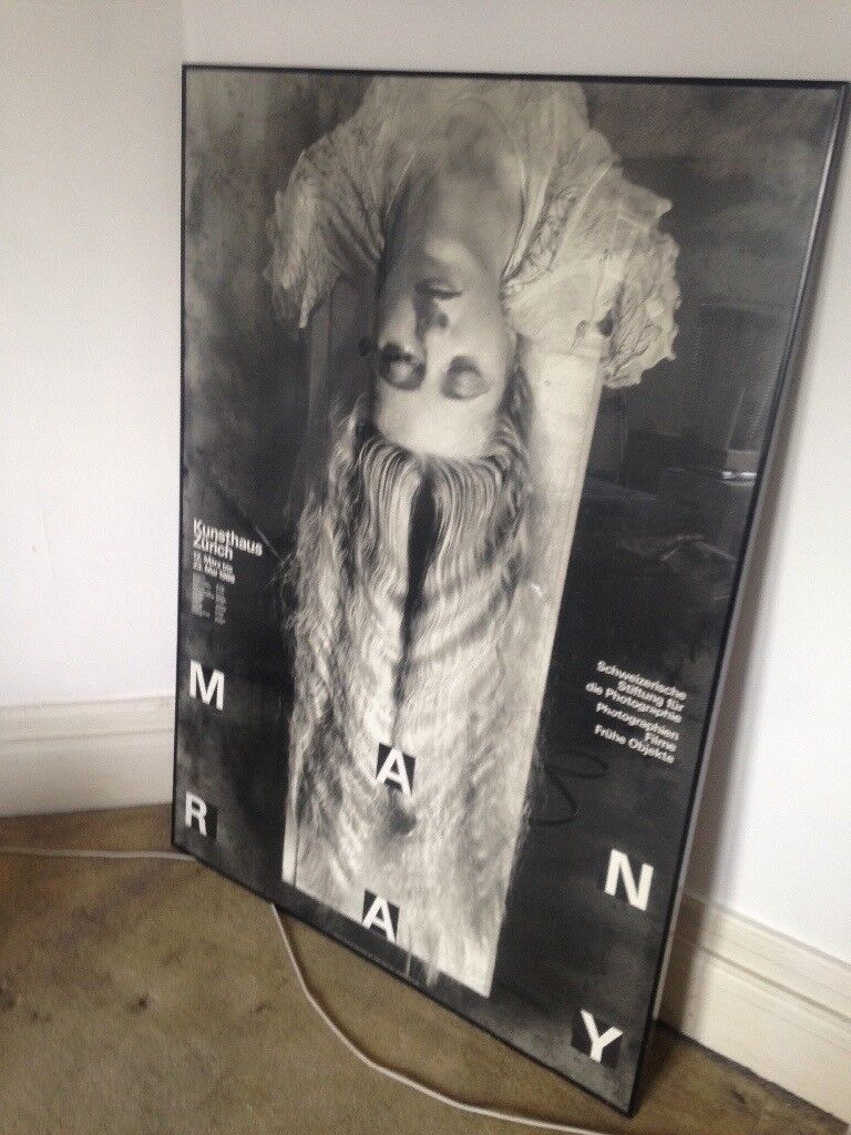Large Man Ray poster. Nicely framed. 90x130.