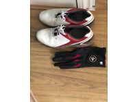 Golf shoes and golf glove