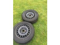 2x winter snow tyres on steel rims wheels to fit VW Passat or similar