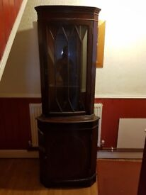 CORNER DISPLAY CABINET BARGAIN TO CLEAR £25 REASONABLE OFFER SECURES