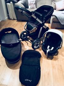 I Candy Push chair, Carry Cot, footmuff & Cybex Aton baby Car seat