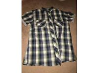 Boys ted baker Green blue and white tartan button shirt age 11-12 years