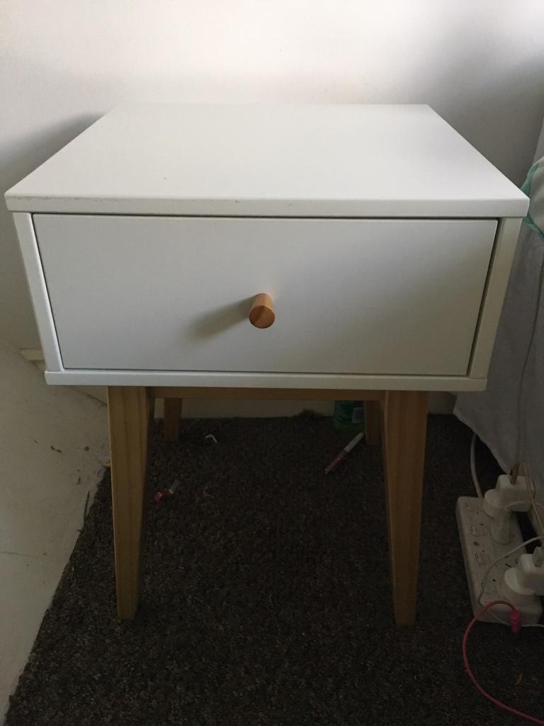 M S Finley Bedside Table White And Wood