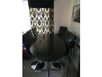 Dining Table & 6 Leather Chairs - Barker & Stonehouse - Black Ash