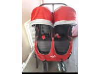 Twin Baby jogger city mini with rain cover & 2 footmuffs