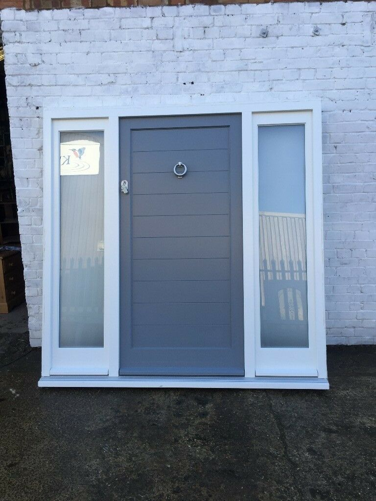 Bespoke wooden front door with side panels