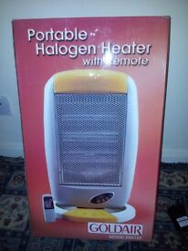 GOLDAIR PORTABLE HALOGEN HEATER WITH REMOTE BRAND NEW IN BOX