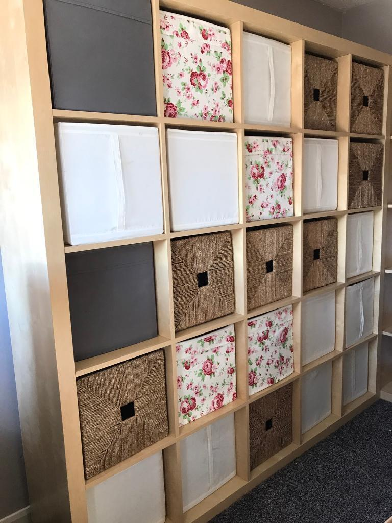 3 IKEA KALLAX OAK VENEER SHELVING UNITS BEDROOM LIVING ...