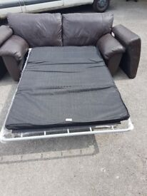 SOFA BED dark brown leather. FREE delivery in Derby