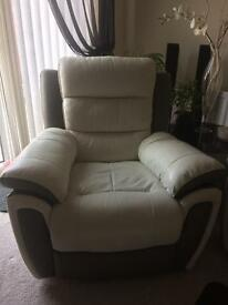 SCS Fiesta White leather Recliner power sofas and chair1+2+3
