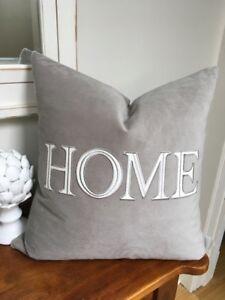 "gorgeous down filled 20""x 20""grey soft velvet HOME cushion"