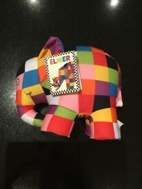 Elmer the elephant soft toy with label still on