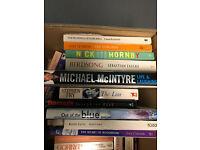 Box of 30 fiction, biography, road atlas books