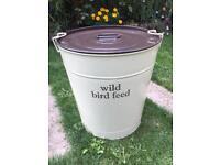 Cream Metal Bird Seed Storage Bin Bucket