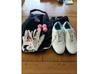 Ladies Dunlop Golf Shoes size 5 includes bag, towel, balls and gloves