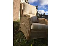 Comfy Wicker Arm Chair with Cushions