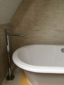 Acrylic roll top bath with stand pipe mixer tap