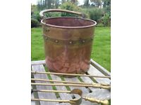 Antique or Vintage brass and copper fire side scuttle and fire irons