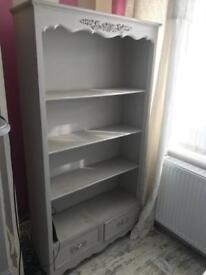 Grey French Shabby Chic bookcase shelves